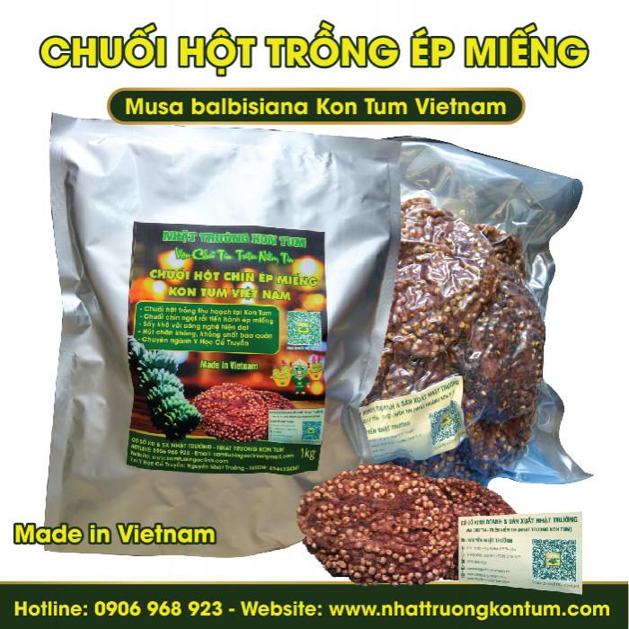 Chuối hột ép miếng - Chuối hột trồng - Musa balbisiana Kon Tum Vietnam - Túi 1kg
