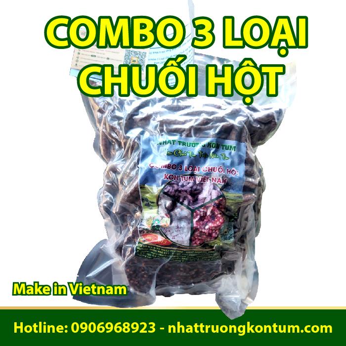 Combo 3 Loại Chuối Hột - Chuối Hột Rừng 1kg - Hạt Chuối Cô Đơn 200g - Chuối Hột Trồng Ép Miếng 100g (2 Lát)