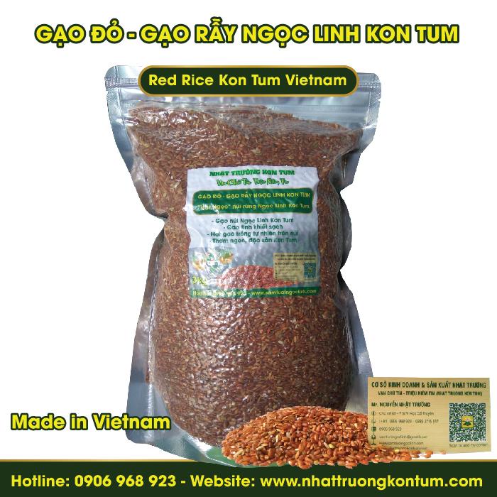 Gạo Đỏ - Gạo Rẫy - Gạo Xà Cơn Ngọc Linh Kon Tum - Red Rice Kon Tum Vietnam - Túi 3kg