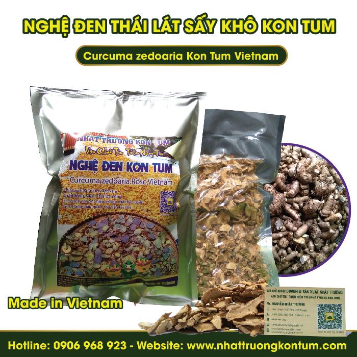 Nghệ Đen - Nga Truật - Nghệ Tím Thái Lát Sấy Khô Kon Tum  - Curcuma zedoaria Vietnam - Túi 1kg