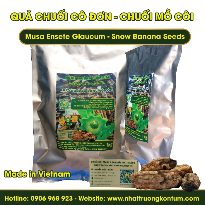 Quả Chuối Cô Đơn Kon Tum - Musa Ensete Glaucum - Snow Banana Seeds - Túi 1kg
