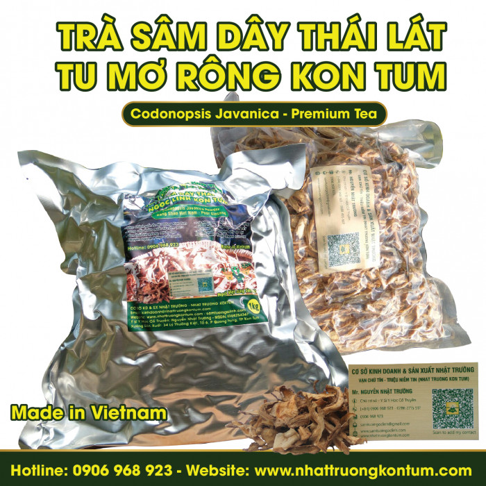 Trà Sâm Dây Thái Lát Tu Mơ Rông Ngọc Linh Kon Tum - Codonopsis Javanica Premium Tea - Túi 1kg